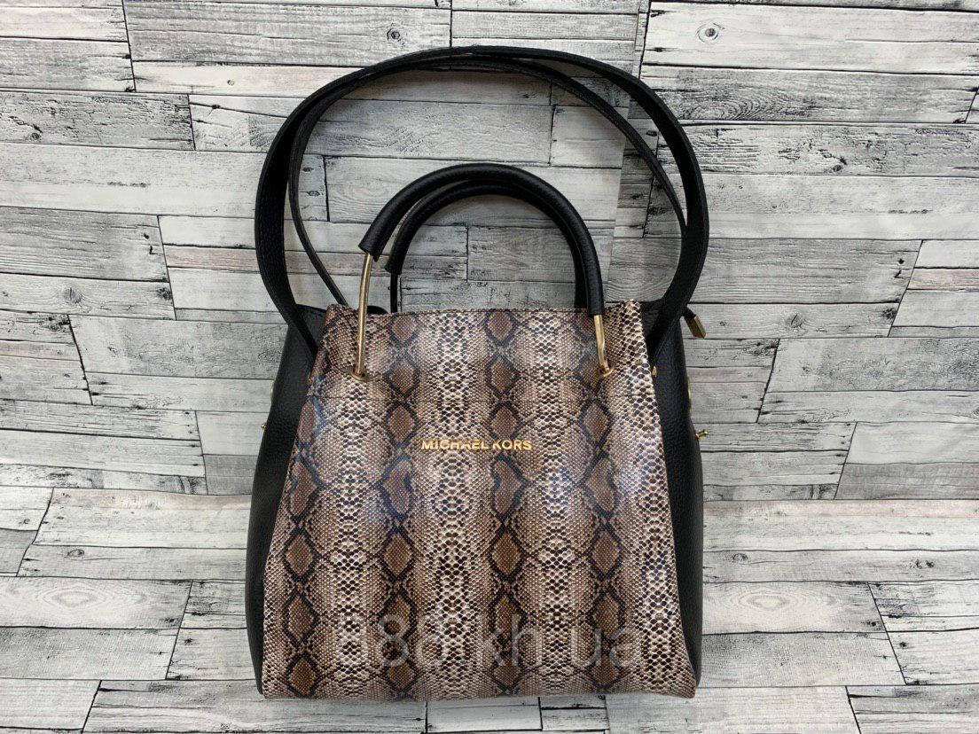 Женская сумка мини - шоппер Michael Kors (в стиле Майкл Корс) с косметичкой (черный/коричневый змея)
