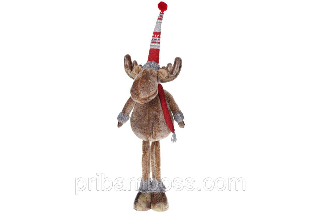 Мягкая новогодняя игрушка Олень, 90см, цвет - бежевый