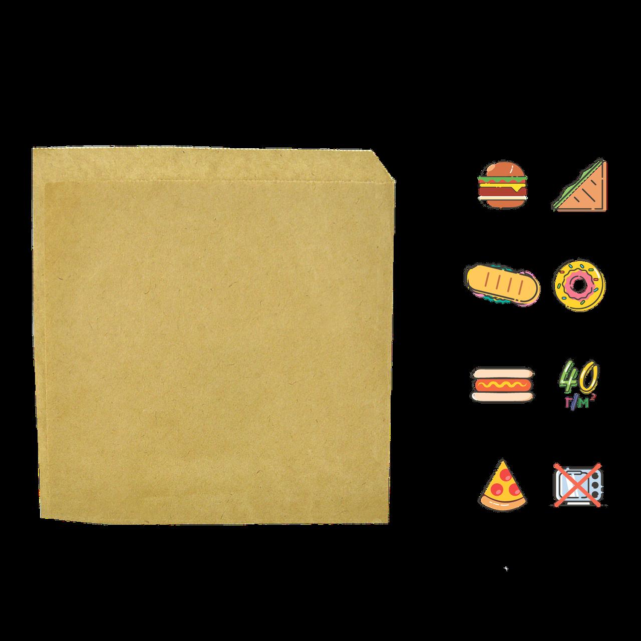 Бумажный пакет Уголок Крафт 140х140мм (ВхШ) 40г/м² 500шт (42)