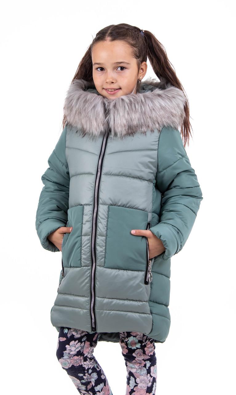 Пальто для девочки зимнее  32-40 полынь