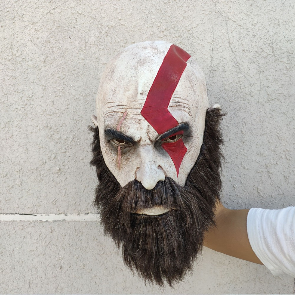 Латексная маска Бог войны 4 с бородой - Кратос