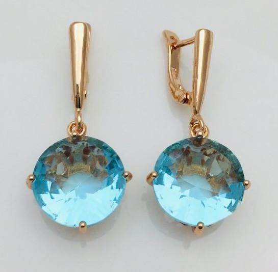 Серьги Fallon с голубым камнем позолота 18К