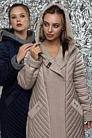 Стильное утепленное пальто вареная шерсть батальные размеры, фото 1