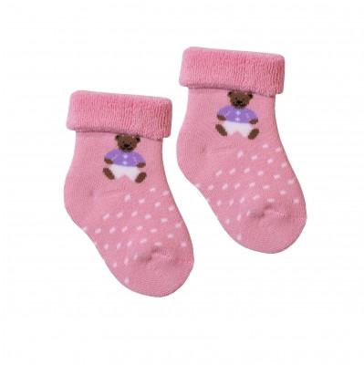 """Детские розовые махровые носочки ТМ """"Дюна"""" с мишкой. Размер 8-10, 10-12, 12-14, 14-16"""