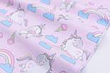 """Лоскут ткани """"Единороги с мороженым и радугой"""" на розовом фоне (2366), размер 37*80, фото 4"""