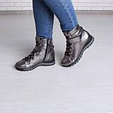 Серебряные ботинки на платформе. Женские ботинки зимние, фото 4