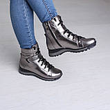 Серебряные ботинки на платформе. Женские ботинки зимние, фото 5
