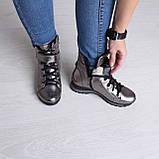 Серебряные ботинки на платформе. Женские ботинки зимние, фото 6