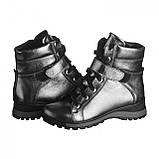 Серебряные ботинки на платформе. Женские ботинки зимние, фото 7