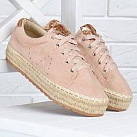 Кеды женские эспадрильи на плетенной платформе Pink sneakers пудра золото, Розовый, 39