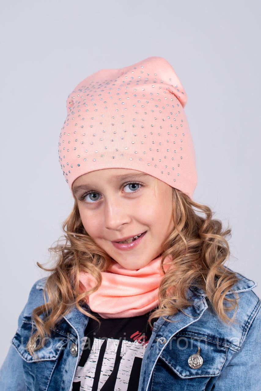Трикотажный набор для девочек шапка и хомут подкладка флис. р. 52-54