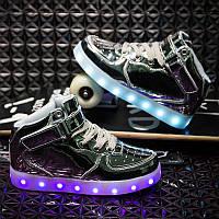 Silver High Step, Серебристые высокие светящиеся кроссовки LED (USB подзарядка), размер 31,39 (LK 1013)