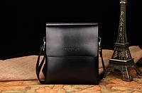 Кожаная сумка Polo через плечо деловая черная