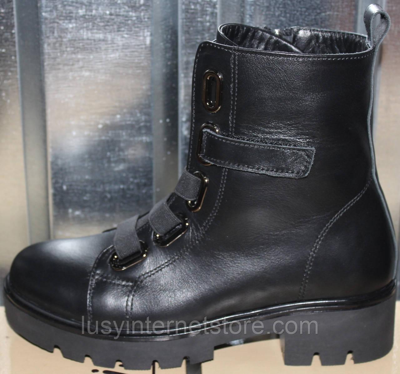Ботинки женские зимние кожаные на низком каблуке от производителя модель РИА-6