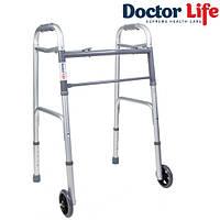 Ходунки складные с колесами Dr.Life 10184SL/W с двумя фиксаторами взрослые, фото 1