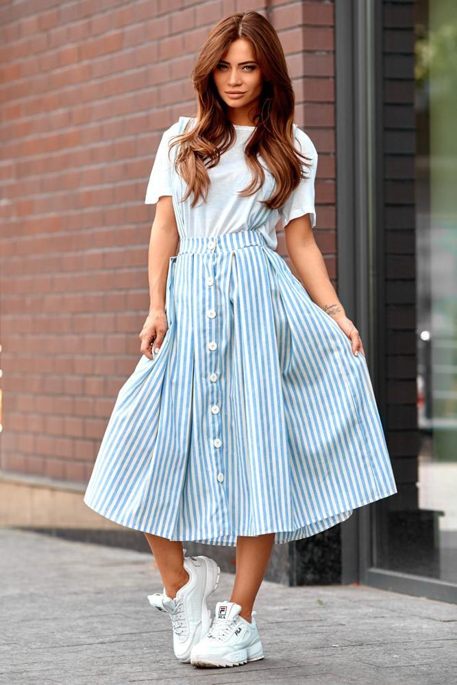 Женская летняя юбка с подтяжками голубая полоска