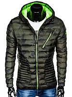 Куртка мужская демисезонная (осенне - весенняя) K377 - зеленый/камуфляжный M, Зеленый