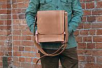 Мужская коричневая сумка планшетка, Кожаная сумка через плечо