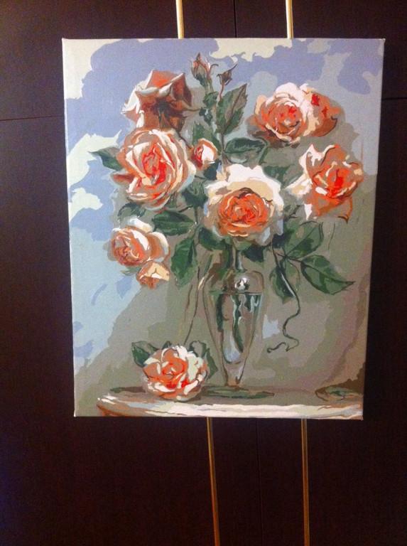 """Как рисовалась картина по номерам Babylon """"Коралловые розы"""" Код: VP326"""