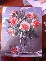 """Как рисовалась картина по номерам Babylon """"Коралловые розы"""" Код: VP326 9"""