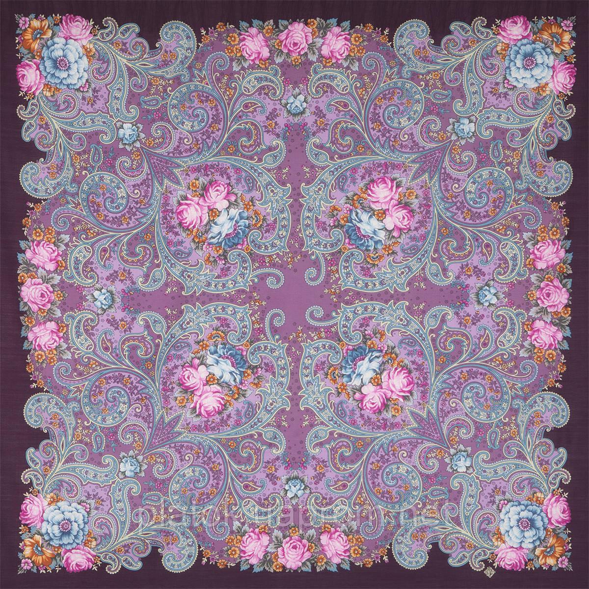 Мечты о счастье 1665-8, павлопосадский платок шерстяной с шелковой бахромой