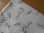 Отрез ткани №168а с контурами фламинго на белом фоне, размер 72*160, фото 2