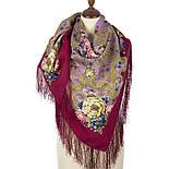 Мечты о счастье 1665-6, павлопосадский платок шерстяной с шелковой бахромой, фото 2