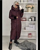 Длинноеженское пальто из плащевки на синтипоне с капюшоном 3расцв. 42,44,46р.