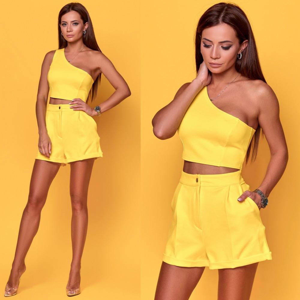 Женский летний костюм топ с шортами желтый