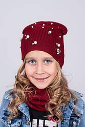 Набор для девочек шапка и хомут подкладка х/б. р. 50-52