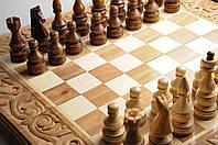 Шахматы, шашки, нарды ручной работы, набор настольных игор 3 в 1, ручная резьба, фото 1