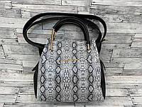 Женская сумка мини - шоппер Michael Kors (в стиле Майкл Корс) с косметичкой (черный/серый змея), фото 1