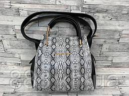 Женская сумка мини - шоппер Michael Kors (в стиле Майкл Корс) с косметичкой (черный/серый змея)