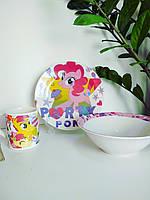 Детский набор посуды из керамики с литл пони