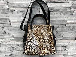 Женская сумка мини - шоппер Michael Kors (в стиле Майкл Корс) с косметичкой (черный/леопард)