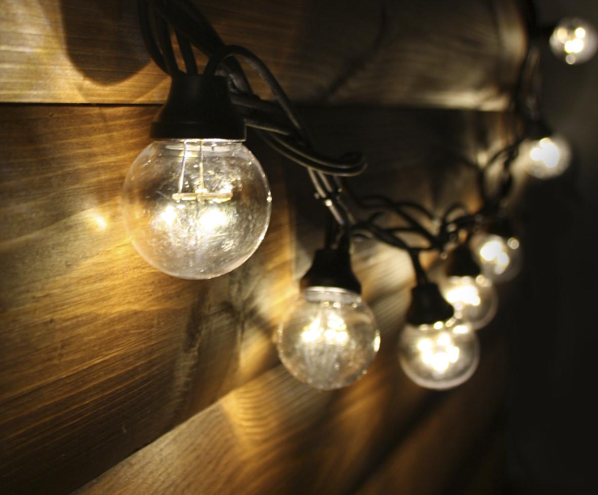 Уличная светодиодная ретро-гирлянда лампочки Lumion Galaxy Bulb String 10м 30 ламп наружная цвет белый теплый