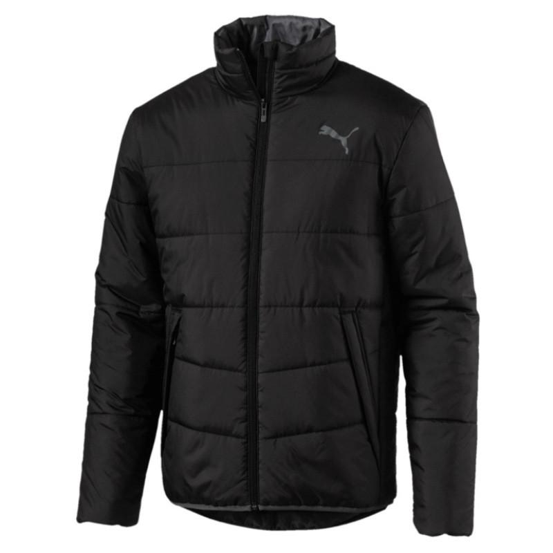 Куртка спортивная мужская Puma Ess Padded Jacket 851597 01 (черная, осень-зима, прямого кроя, логотип пума)