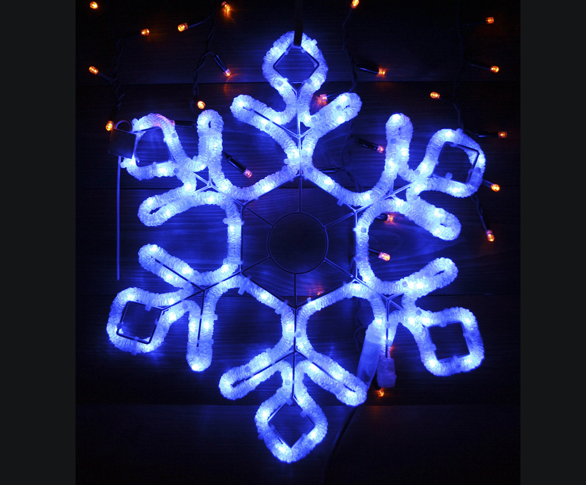 Светодиодное украшение Мотив Снежинка Lumion 60,5х52 см наружный цвет синий