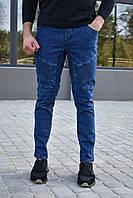 Джинсы мужские джоггеры синие / джинсовые штаны