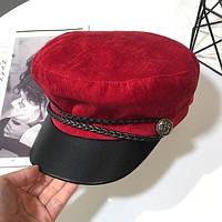 Женский картуз, кепи, фуражка вельветовый с козырьком из кожзама красный, фото 1