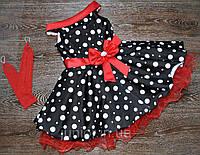 """Детское платье черное в белый крупный горох в ретро стиле """"Стиляги"""""""