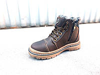 Кожаные подростковые зимние ботинки 35-39, фото 1