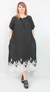 Турецкое летнее черное платье-сарафан свободного кроя, размеры 54-62