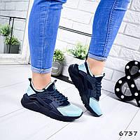 Кроссовки женские в стиле Huarache синий + голубой 6737, фото 1
