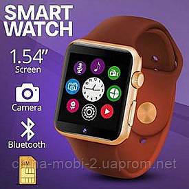 Smart Watch A1, cмарт часы телефон с блютуз, золотые