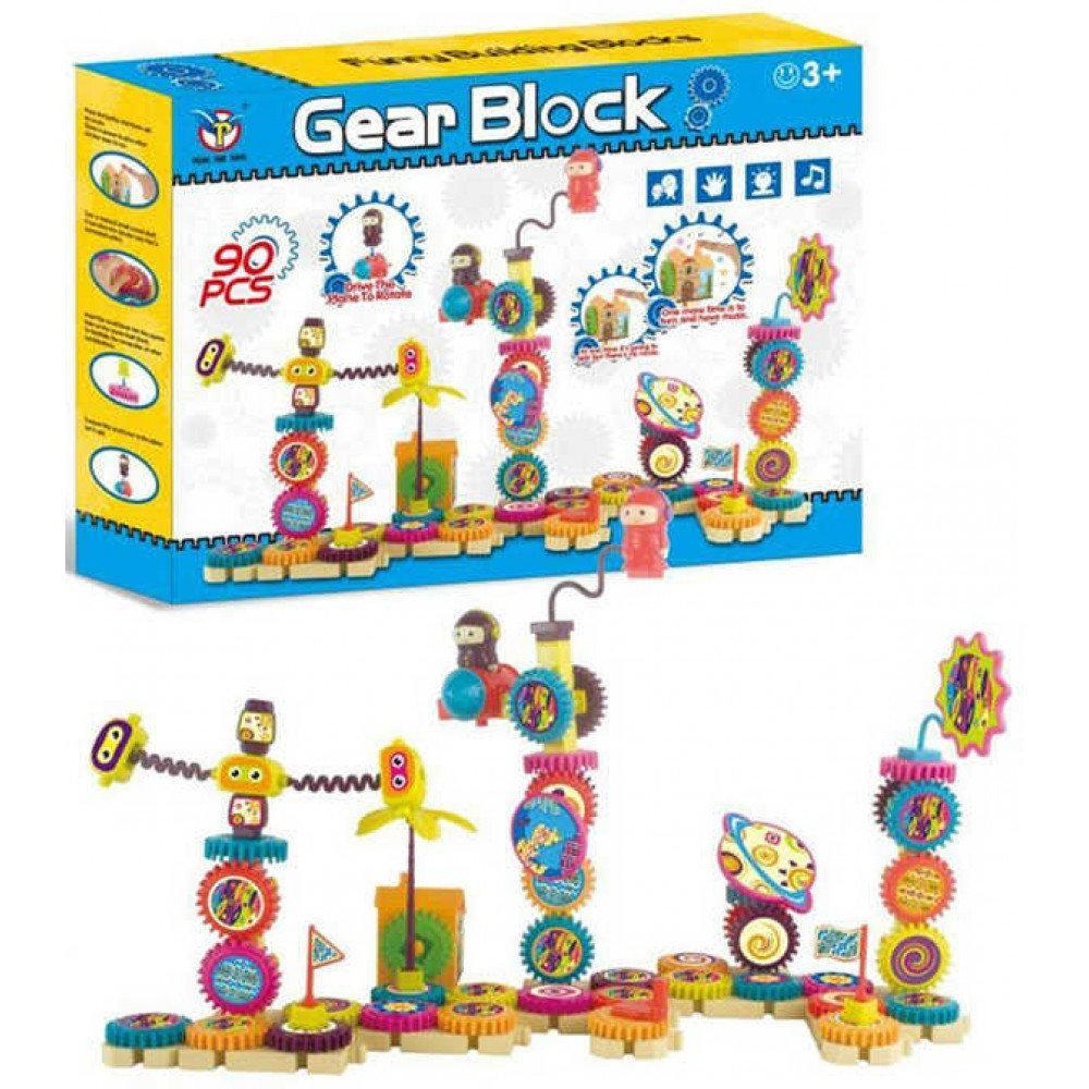 Детский конструктор на шестерёнках Peng yue toys Gear Block 90 деталей