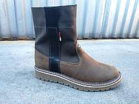 Кожаные подростковые зимние высокие ботинки 35-39, фото 1