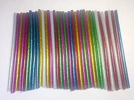 Комплект клеевых стержней с блестками, цветной 7мм 18см