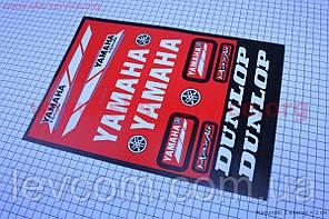 """Наклейки на планшете """"Yamaha/Dunlop"""" красные набор 13шт 23х32"""