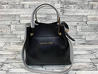 Женская сумка мини - шоппер Michael Kors (в стиле Майкл Корс) с косметичкой (черный/серый)